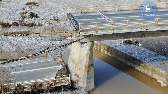 Γέφυρα στη Ρόδο κατέρρευσε σαν χάρτινος πύργος [βίντεο]