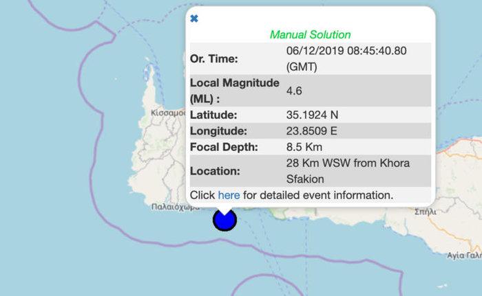 Σεισμός 4,6 Ρίχτερ στην Κρήτη