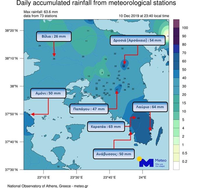 Επεσαν 60 εκατοστά βροχής σε λίγες ώρες στην Αττική
