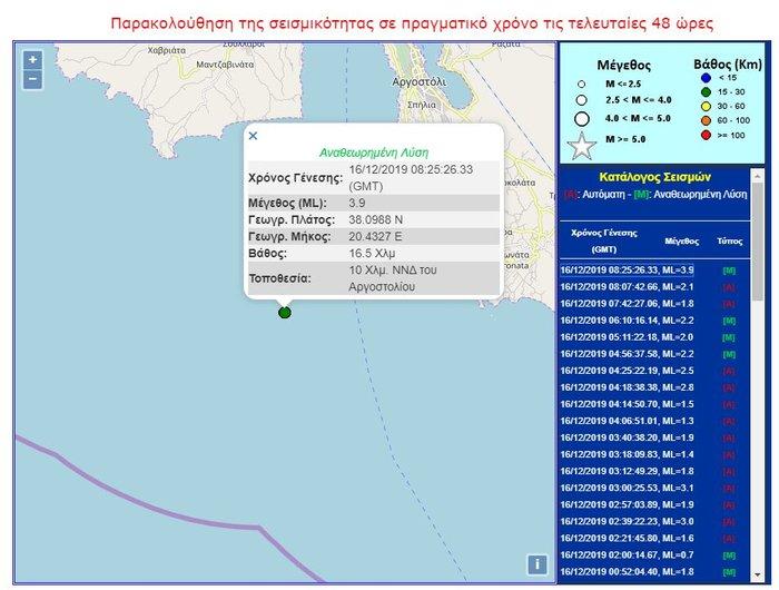 Σεισμός 3,9 Ρίχτερ στην Κεφαλονιά