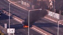 Χάος στον Κηφισό: Αυτοκίνητο άρπαξε φωτιά