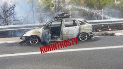 IΧ τυλίχτηκε στις φλόγες στην εθνική οδό Αθηνών – Κορίνθου