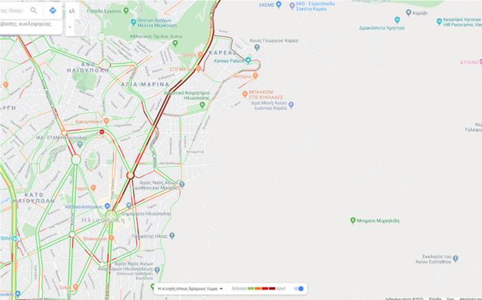Μποτιλιάρισμα στην Περιφερειακή Οδό Καρέα λόγω τροχαίου