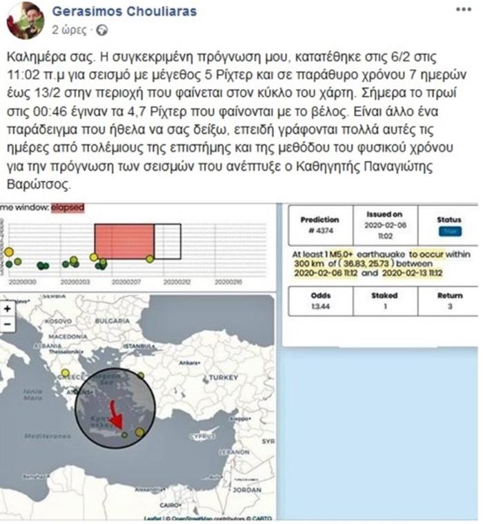 Χουλιάρας: Είχα προβλέψει τον σημερινό σεισμό της Καρπάθου