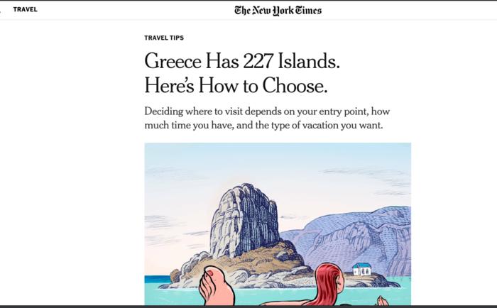 Οι ΝΥΤ διαφημίζουν τα ελληνικά νησιά: «Δείτε πώς να διαλέξετε»